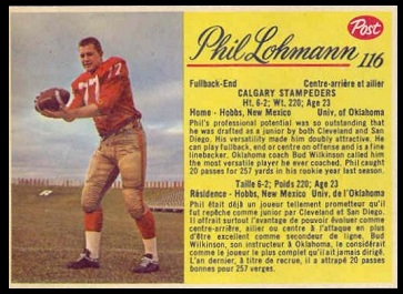 Phil Lohmann 1963 Post CFL football card
