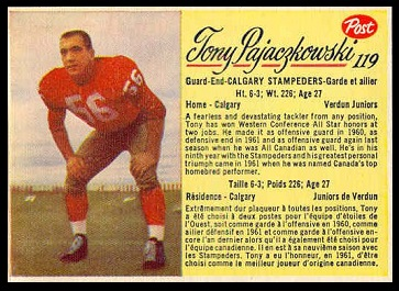 Tony Pajaczkowski 1963 Post CFL football card