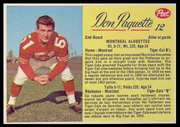 Don Paquette 1963 Post CFL football card