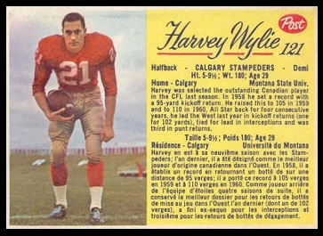Harvey Wylie 1963 Post CFL football card
