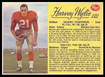 Harvey Wylie 1963 Post CFL football card