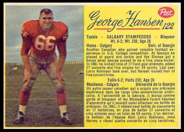 George Hansen 1963 Post CFL football card