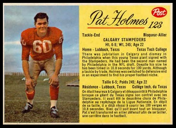 Pat Holmes 1963 Post CFL football card