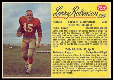 Larry Robinson 1963 Post CFL football card