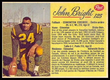 John Bright 1963 Post CFL football card