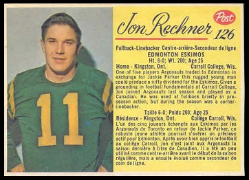 Jon Rechner 1963 Post CFL football card