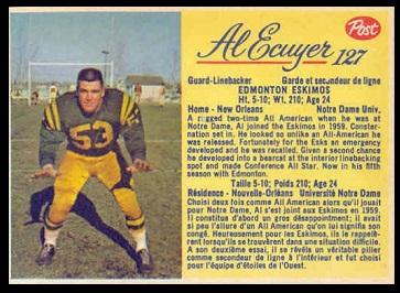 Al Ecuyer 1963 Post CFL football card