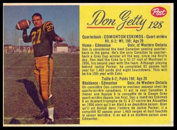 Don Getty 1963 Post CFL football card
