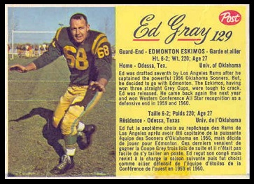 Ed Gray 1963 Post CFL football card