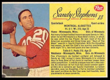 Sandy Stephens 1963 Post CFL football card