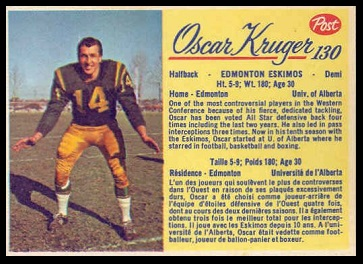 Oscar Kruger 1963 Post CFL football card