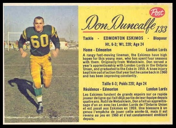 Don Duncalfe 1963 Post CFL football card