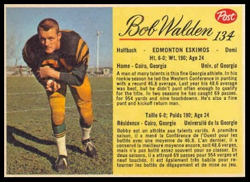 Bobby Walden 1963 Post CFL football card