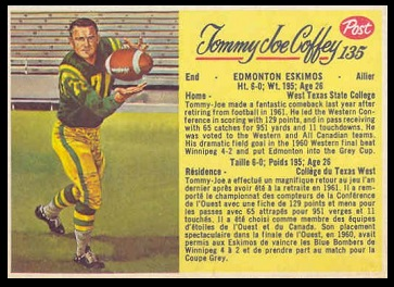 Tommy Joe Coffey 1963 Post CFL football card