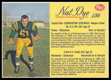 Nat Dye 1963 Post CFL football card