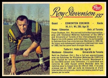 Roy Stevenson 1963 Post CFL football card