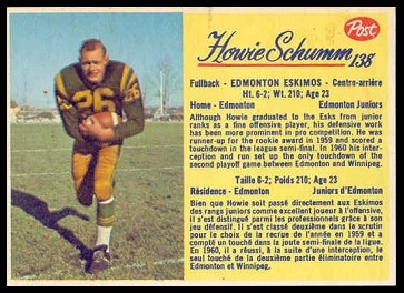 Howie Schumm 1963 Post CFL football card