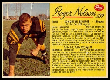 Roger Nelson 1963 Post CFL football card