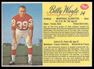 Billy Wayte 1963 Post CFL football card