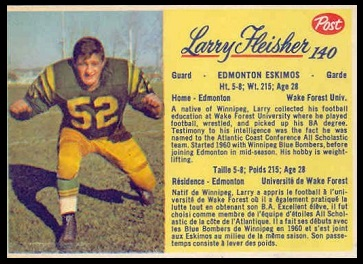 Larry Fleisher 1963 Post CFL football card