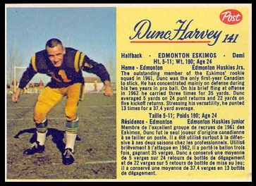 Dunc Harvey 1963 Post CFL football card