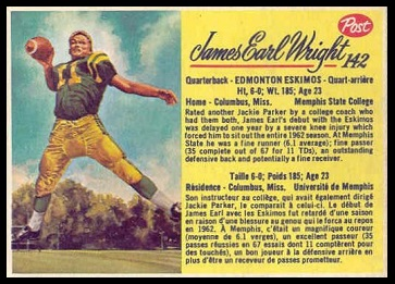 James Earl Wright 1963 Post CFL football card