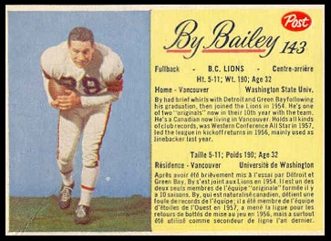 By Bailey 1963 Post CFL football card