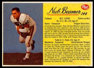 Nub Beamer 1963 Post CFL football card
