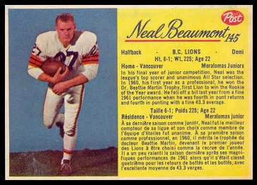 Neal Beaumont 1963 Post CFL football card