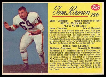 Tom Brown 1963 Post CFL football card