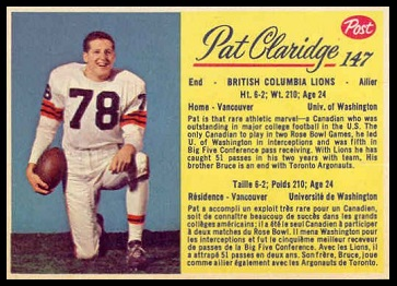 Pat Claridge 1963 Post CFL football card