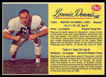 Lonnie Dennis 1963 Post CFL football card