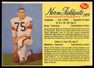 Norm Fieldgate 1963 Post CFL football card