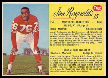 Jim Reynolds 1963 Post CFL football card