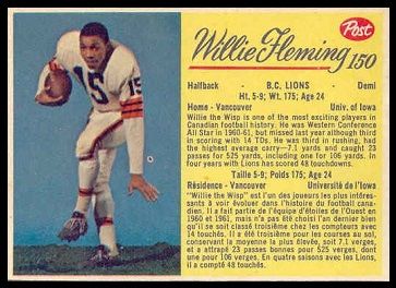 Willie Fleming 1963 Post CFL football card