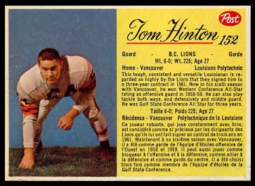 Tom Hinton 1963 Post CFL football card