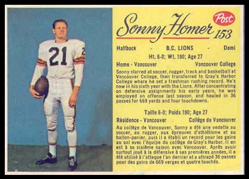 Sonny Homer 1963 Post CFL football card