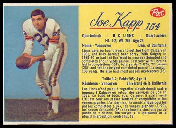 Joe Kapp 1963 Post CFL football card