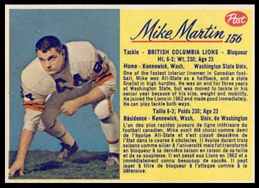 Mike Martin 1963 Post CFL football card