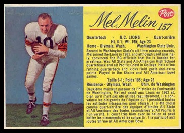 Mel Melin 1963 Post CFL football card