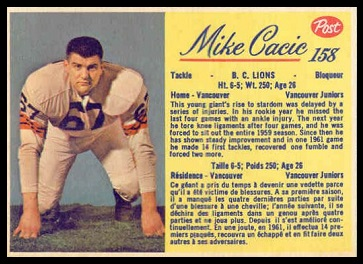 Mike Cacic 1963 Post CFL football card