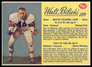Walt Bilicki 1963 Post CFL football card