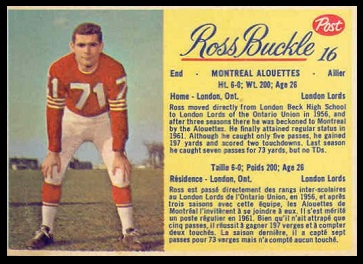 Ross Buckle 1963 Post CFL football card