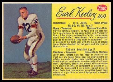 Earl Keeley 1963 Post CFL football card