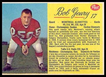 Bob Geary 1963 Post CFL football card