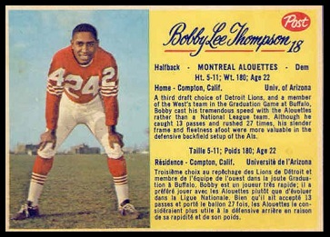 Bobby Lee Thompson 1963 Post CFL football card