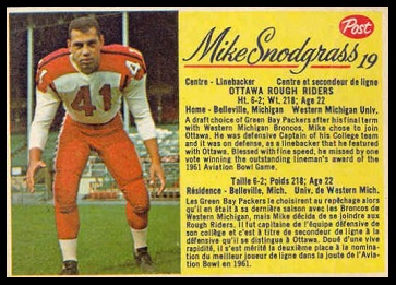 Mike Snodgrass 1963 Post Cereal CFL football card