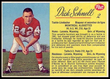 Dick Schnell 1963 Post CFL football card
