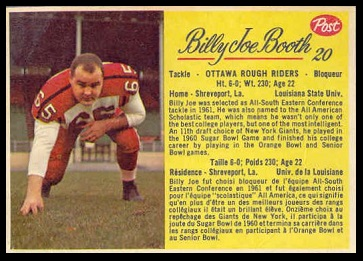 Billy Joe Booth 1963 Post CFL football card