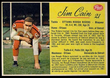 Jim Cain 1963 Post CFL football card